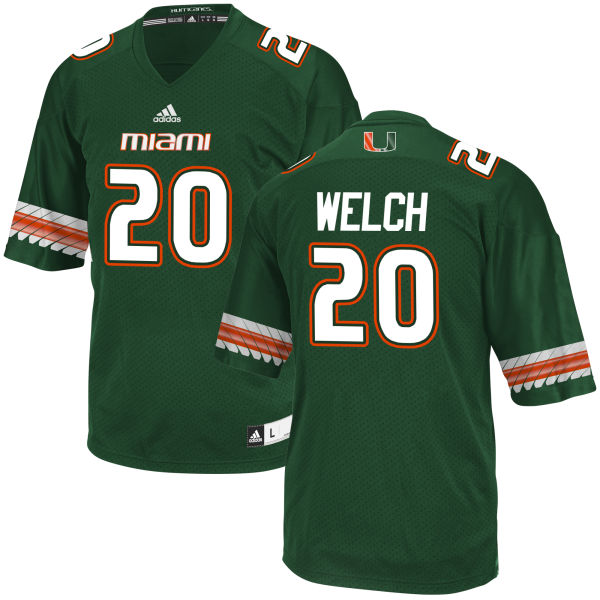 Men's Michael Welch Miami Hurricanes Game Green adidas Jersey