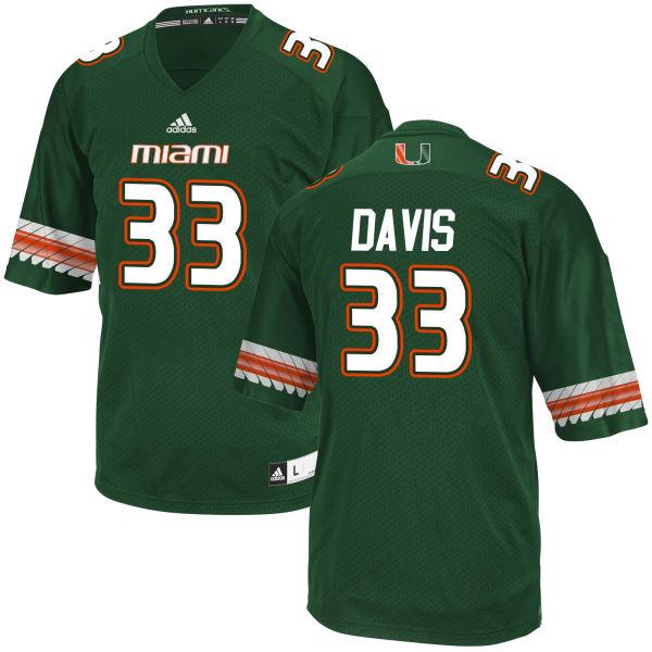 Men's Mitch Davis Miami Hurricanes Game Green adidas Jersey