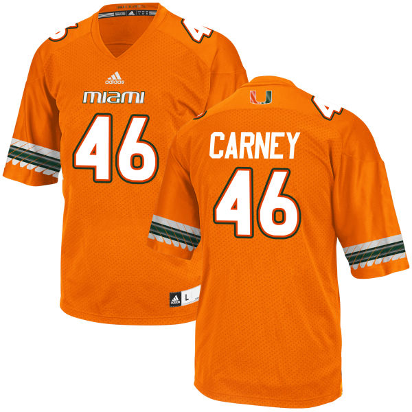 Men's O'Juan Carney Miami Hurricanes Replica Orange adidas Jersey