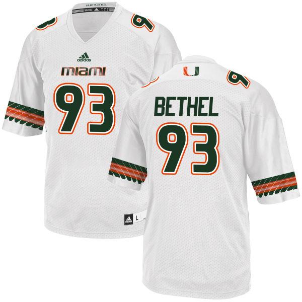 Men's Pat Bethel Miami Hurricanes Replica White adidas Jersey