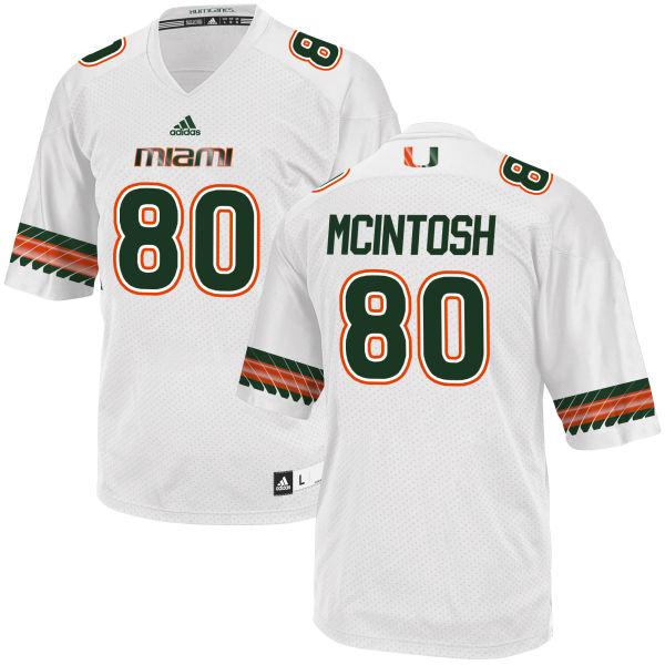 Men's RJ McIntosh Miami Hurricanes Replica White adidas Jersey