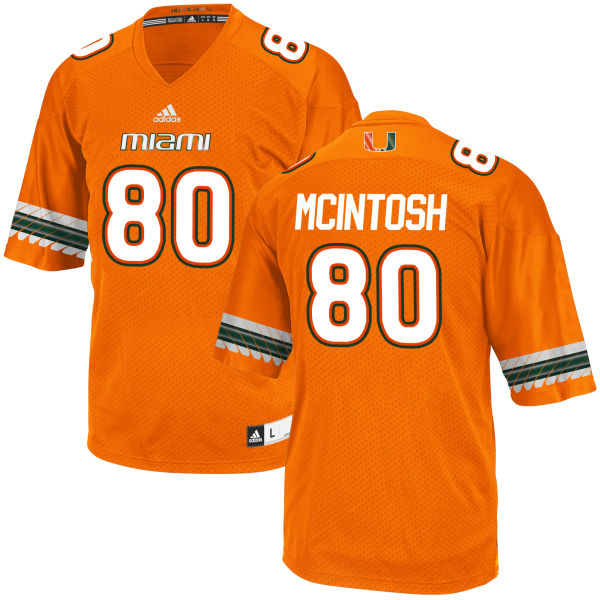 Men's RJ McIntosh Miami Hurricanes Authentic Orange adidas Jersey