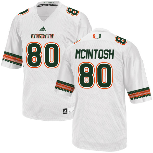 Men's RJ McIntosh Miami Hurricanes Authentic White adidas Jersey