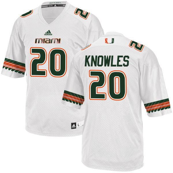 Men's Robert Knowles Miami Hurricanes Limited White adidas Jersey