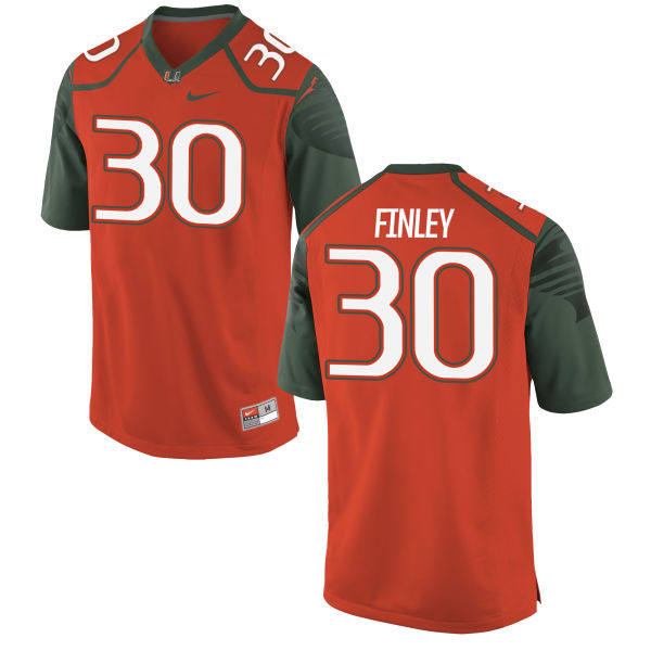 Men's Nike Romeo Finley Miami Hurricanes Authentic Orange Football Jersey