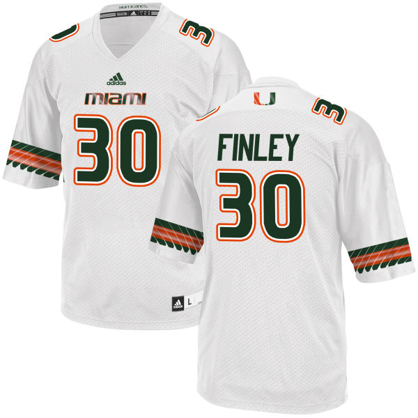 Men's Romeo Finley Miami Hurricanes Authentic White adidas Jersey