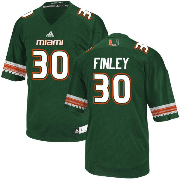 Men's Romeo Finley Miami Hurricanes Game Green adidas Jersey