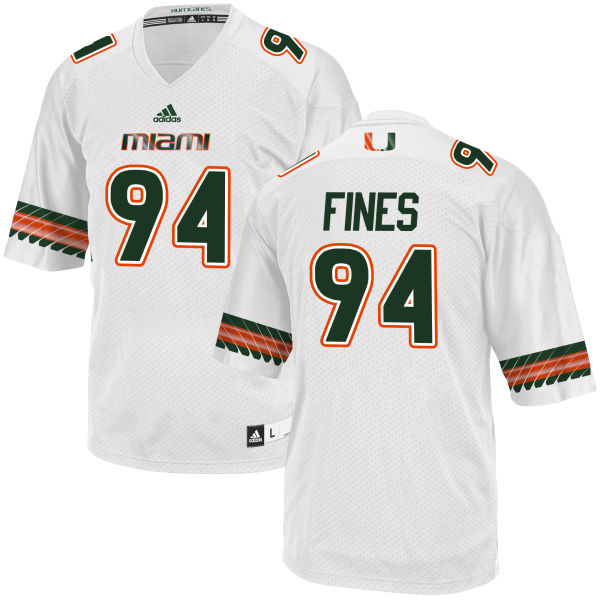 Men's Ryan Fines Miami Hurricanes Limited White adidas Jersey