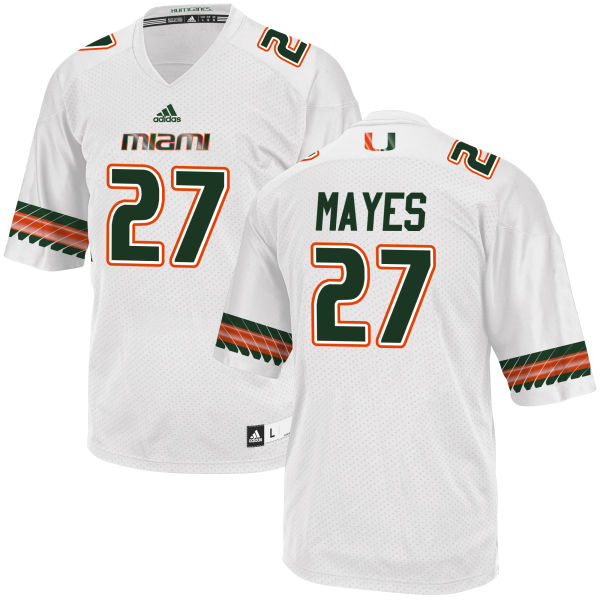Men's Ryan Mayes Miami Hurricanes Authentic White adidas Jersey