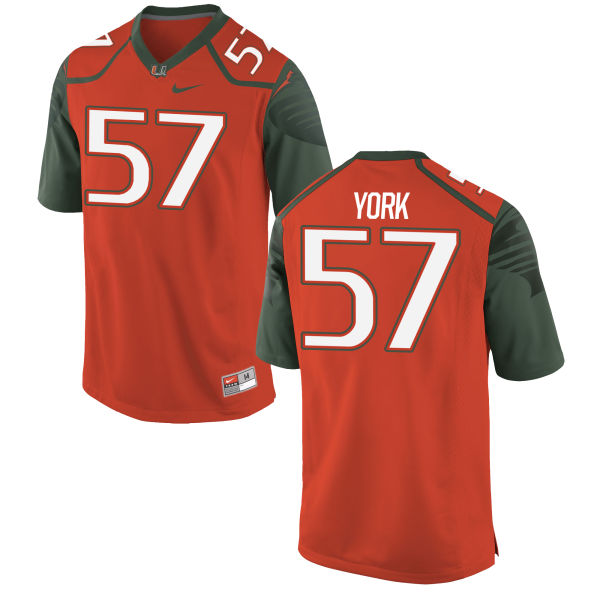 Men's Nike Sam York Miami Hurricanes Authentic Orange Football Jersey