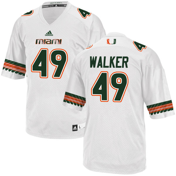 Men's Shawn Walker Miami Hurricanes Replica White adidas Jersey