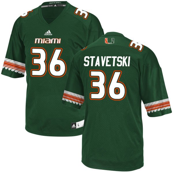 Men's Teddy Stavetski Miami Hurricanes Replica Green adidas Jersey