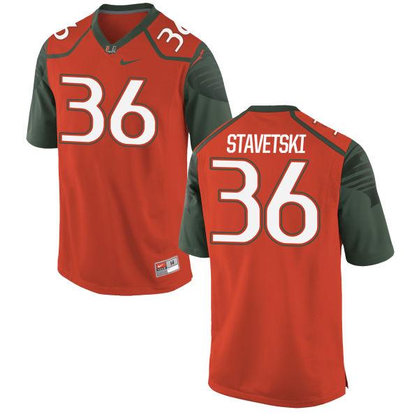 Men's Nike Teddy Stavetski Miami Hurricanes Game Orange Football Jersey
