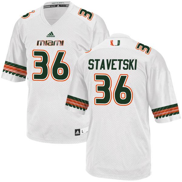 Men's Teddy Stavetski Miami Hurricanes Game White adidas Jersey