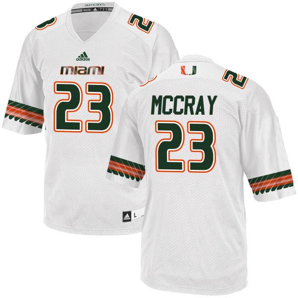 Men's Terry McCray Miami Hurricanes Replica White adidas Jersey