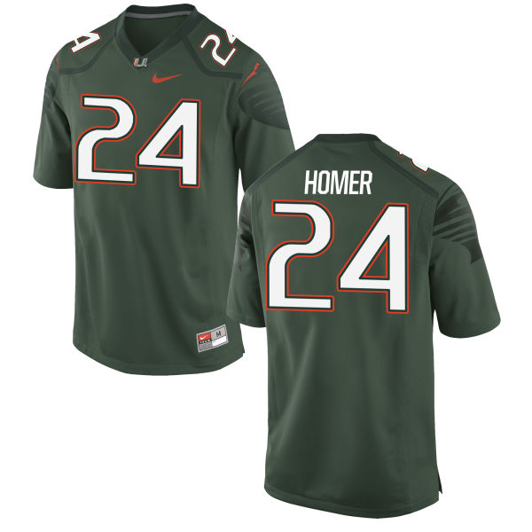 Men's Travis Homer Miami Hurricanes Replica Green Alternate Jersey
