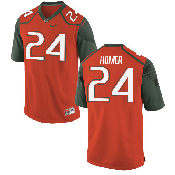 Men's Travis Homer Miami Hurricanes Authentic Orange Football Jersey