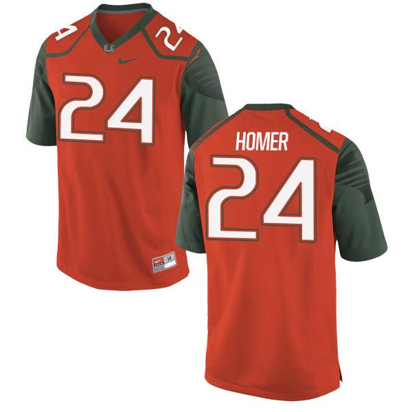 Men's Nike Travis Homer Miami Hurricanes Authentic Orange Football Jersey