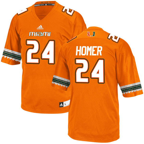 Men's Travis Homer Miami Hurricanes Game Orange adidas Jersey