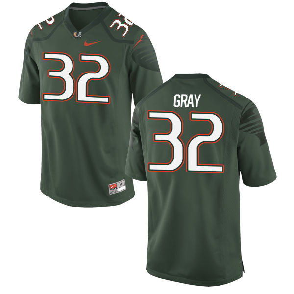 Men's Nike Trayone Gray Miami Hurricanes Replica Green Alternate Jersey