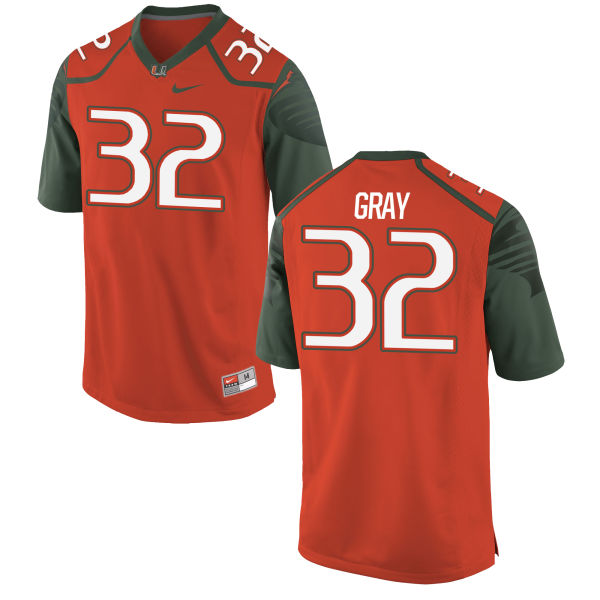 Men's Nike Trayone Gray Miami Hurricanes Authentic Orange Football Jersey