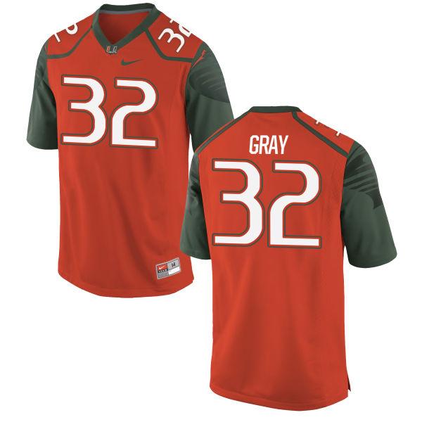 Men's Nike Trayone Gray Miami Hurricanes Limited Orange Football Jersey
