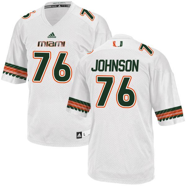 Men's Tre Johnson Miami Hurricanes Replica White adidas Jersey