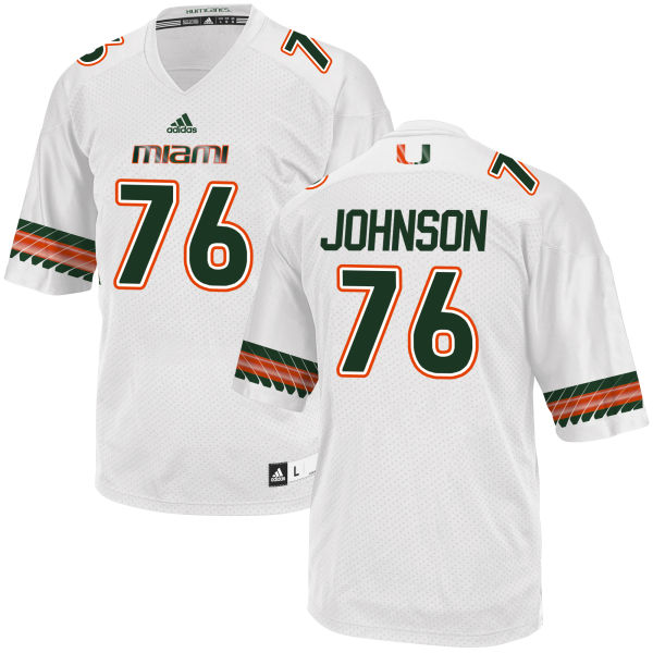 Men's Tre Johnson Miami Hurricanes Authentic White adidas Jersey