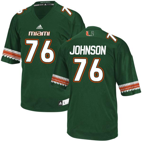 Men's Tre Johnson Miami Hurricanes Game Green adidas Jersey