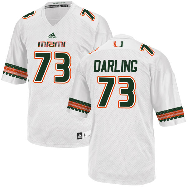 Men's Trevor Darling Miami Hurricanes Replica White adidas Jersey