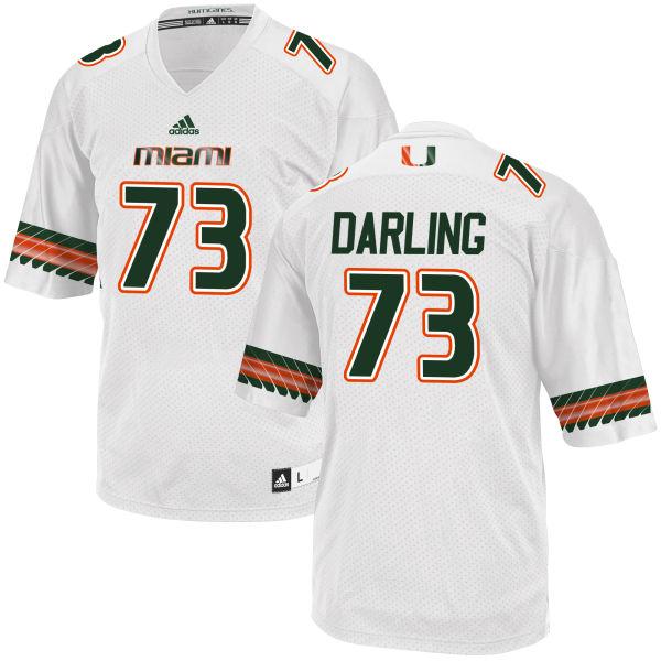 Men's Trevor Darling Miami Hurricanes Game White adidas Jersey
