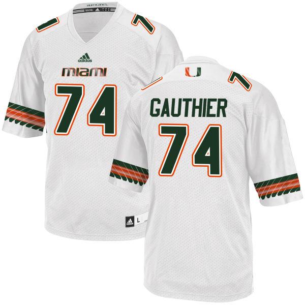 Men's Tyler Gauthier Miami Hurricanes Replica White adidas Jersey