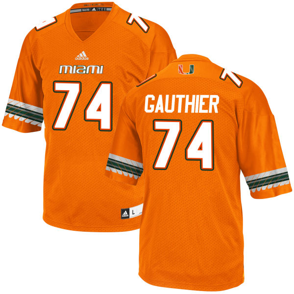 Men's Tyler Gauthier Miami Hurricanes Authentic Orange adidas Jersey