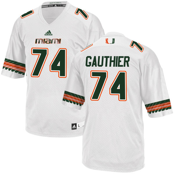 Men's Tyler Gauthier Miami Hurricanes Authentic White adidas Jersey