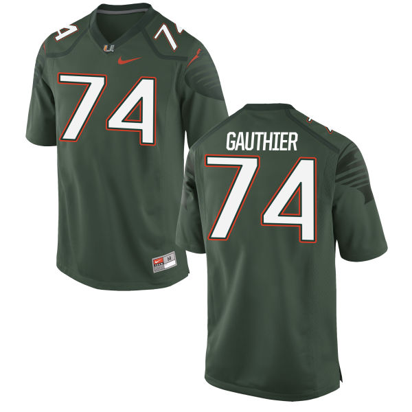 Men's Nike Tyler Gauthier Miami Hurricanes Game Green Alternate Jersey