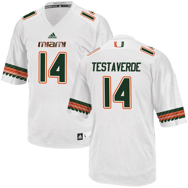 Men's Vincent Testaverde Miami Hurricanes Limited White adidas Jersey