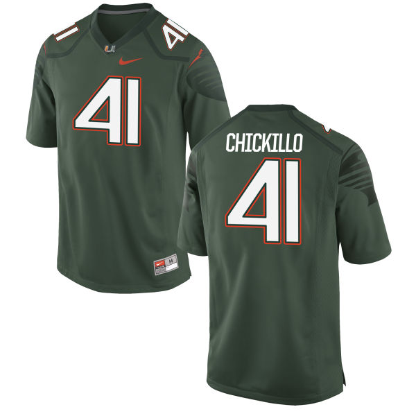 Men's Nike Wyatt Chickillo Miami Hurricanes Game Green Alternate Jersey