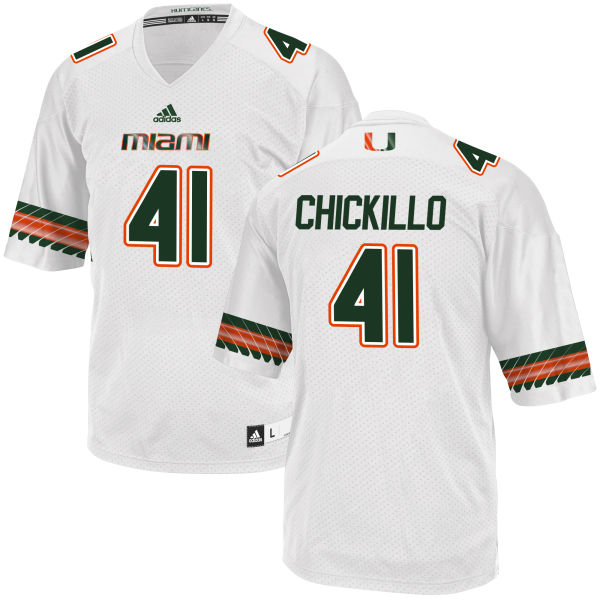 Men's Wyatt Chickillo Miami Hurricanes Game White adidas Jersey