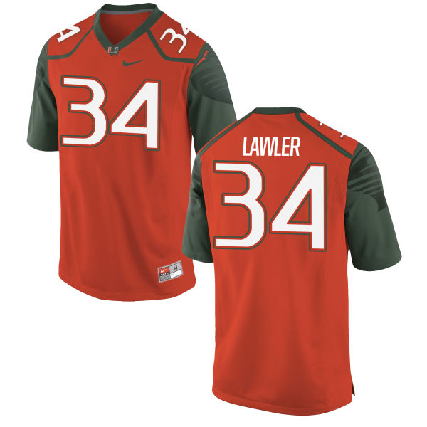 Men's Nike Zackary Lawler Miami Hurricanes Replica Orange Football Jersey