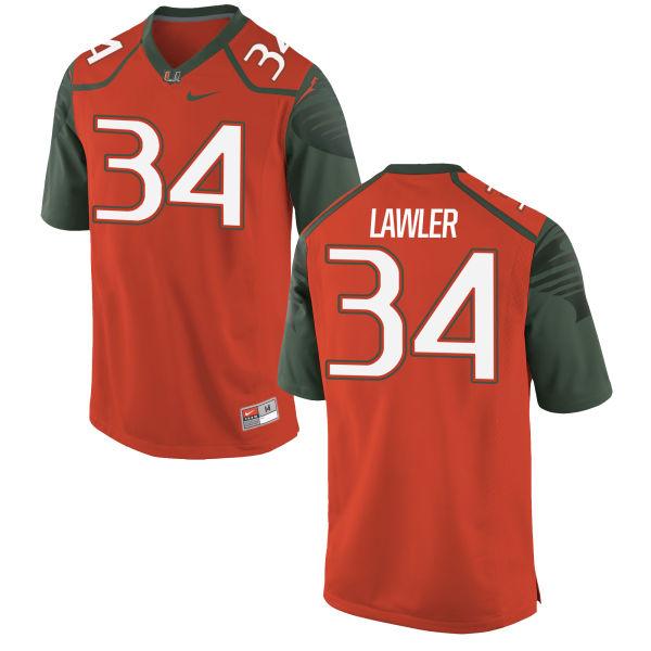 Men's Nike Zackary Lawler Miami Hurricanes Authentic Orange Football Jersey