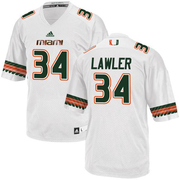 Men's Zackary Lawler Miami Hurricanes Game White adidas Jersey