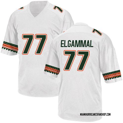 Men's Adidas Adam ElGammal Miami Hurricanes Replica White Alternate College Jersey