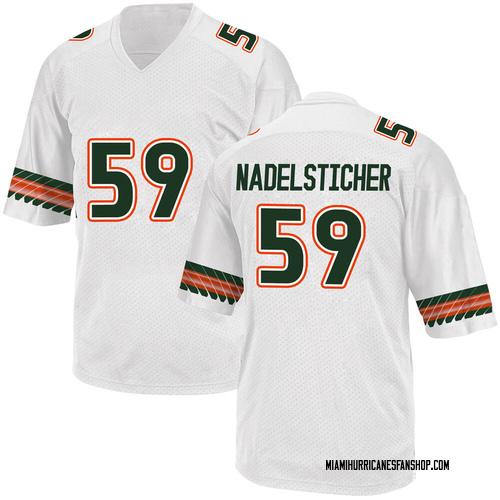 Men's Adidas Alan Nadelsticher Miami Hurricanes Game White Alternate College Jersey