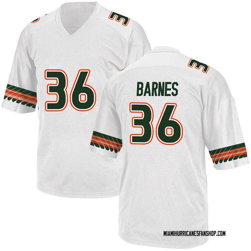 Men's Adidas Andrew Barnes Miami Hurricanes Replica White Alternate College Jersey