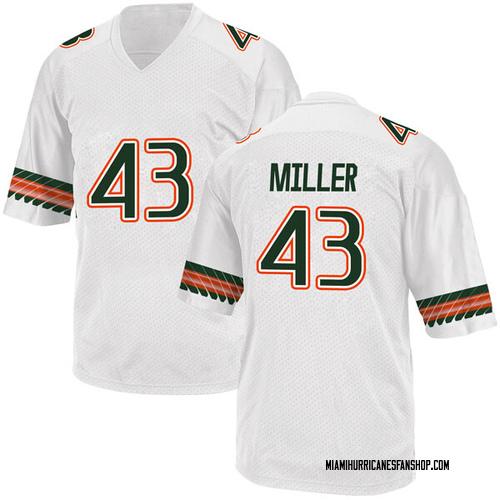 Men's Adidas Brian Miller Miami Hurricanes Replica White Alternate College Jersey