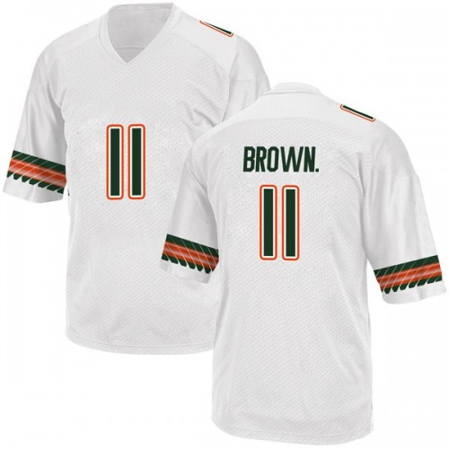 Men's Adidas Bruce Brown Jr. Miami Hurricanes Game White Alternate College Jersey