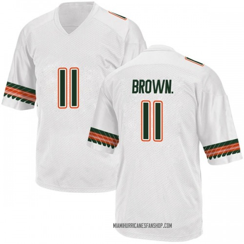 Men's Adidas Bruce Brown Jr. Miami Hurricanes Replica White Alternate College Jersey