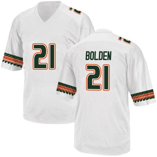 Men's Adidas Bubba Bolden Miami Hurricanes Game White Alternate College Jersey