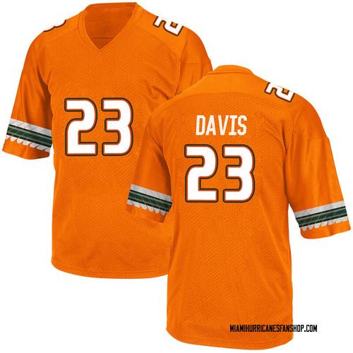 Men's Adidas Camron Davis Miami Hurricanes Game Orange Alternate College Jersey