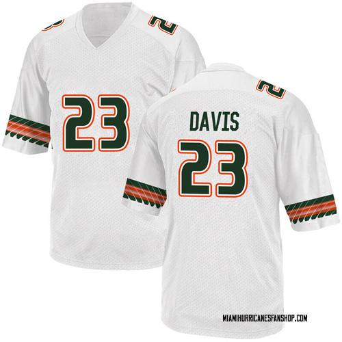 Men's Adidas Camron Davis Miami Hurricanes Game White Alternate College Jersey
